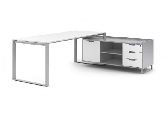 credenza de apoyo de mesa con cajones, hueco y puerta corredera en laminado o madera